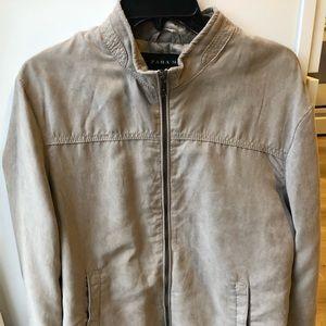 Zara men bomber jacket suede beige size large